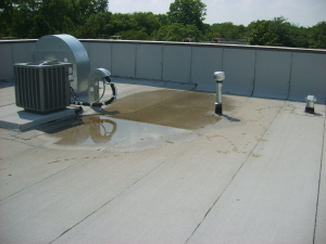 Ponding water on commercial roofs is a cause for roof leaks